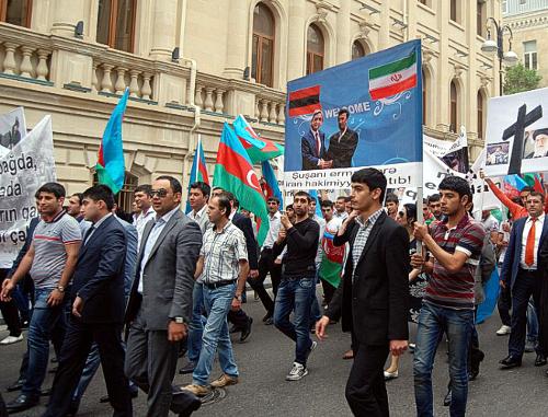 Перед посольством Ирана в Баку прошла акция протеста.